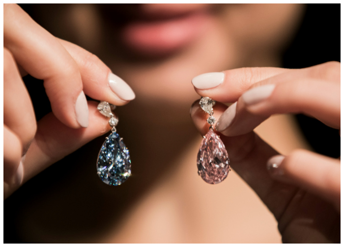 The Apollo blue diamond and the Artemis pink diamond make up this pair of earrings, called the most important ever to be sold at auction.
