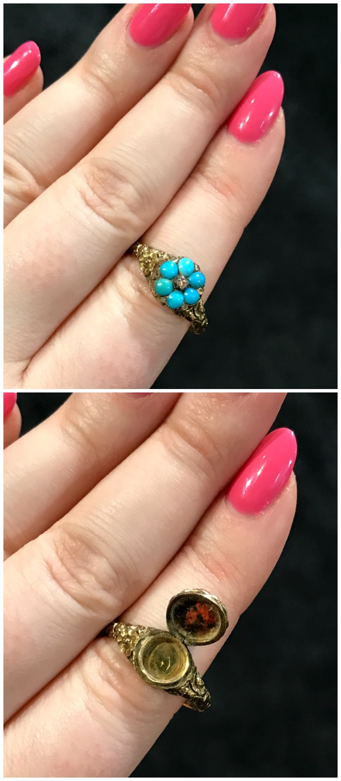 The sweetest little antique locket ring you ever see. Turquoise and gold, from Lowther Antiques.