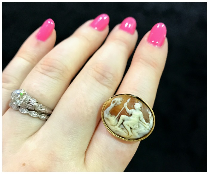 This fantastic ring features a Roman era carving in a Georgian era setting. From Gallery 118, at the Original Miami Antique Show.