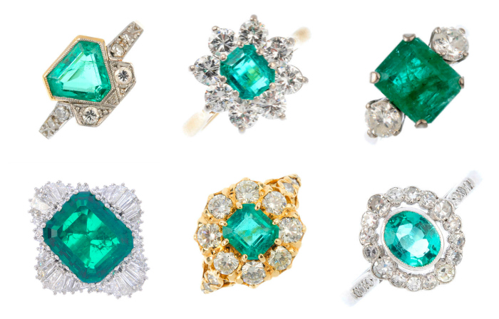 Vintage and antique emerald rings from the upcoming auction at Fellows