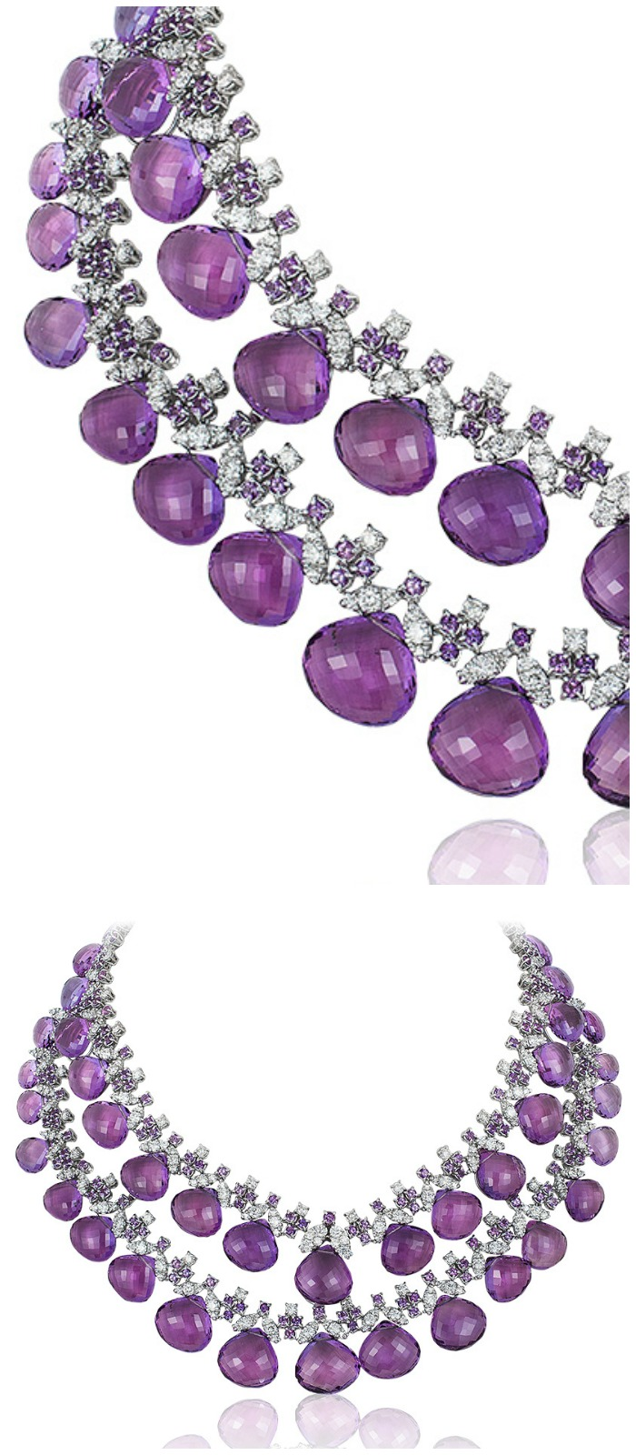 An incredible Andreoli briolette necklace with 16.17 carats of diamonds and 328.28g amethyst!
