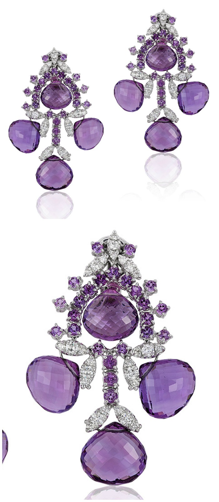 Beautiful Andreoli briolette earrings with 2.00 carats of diamonds and 71.13 g amethyst