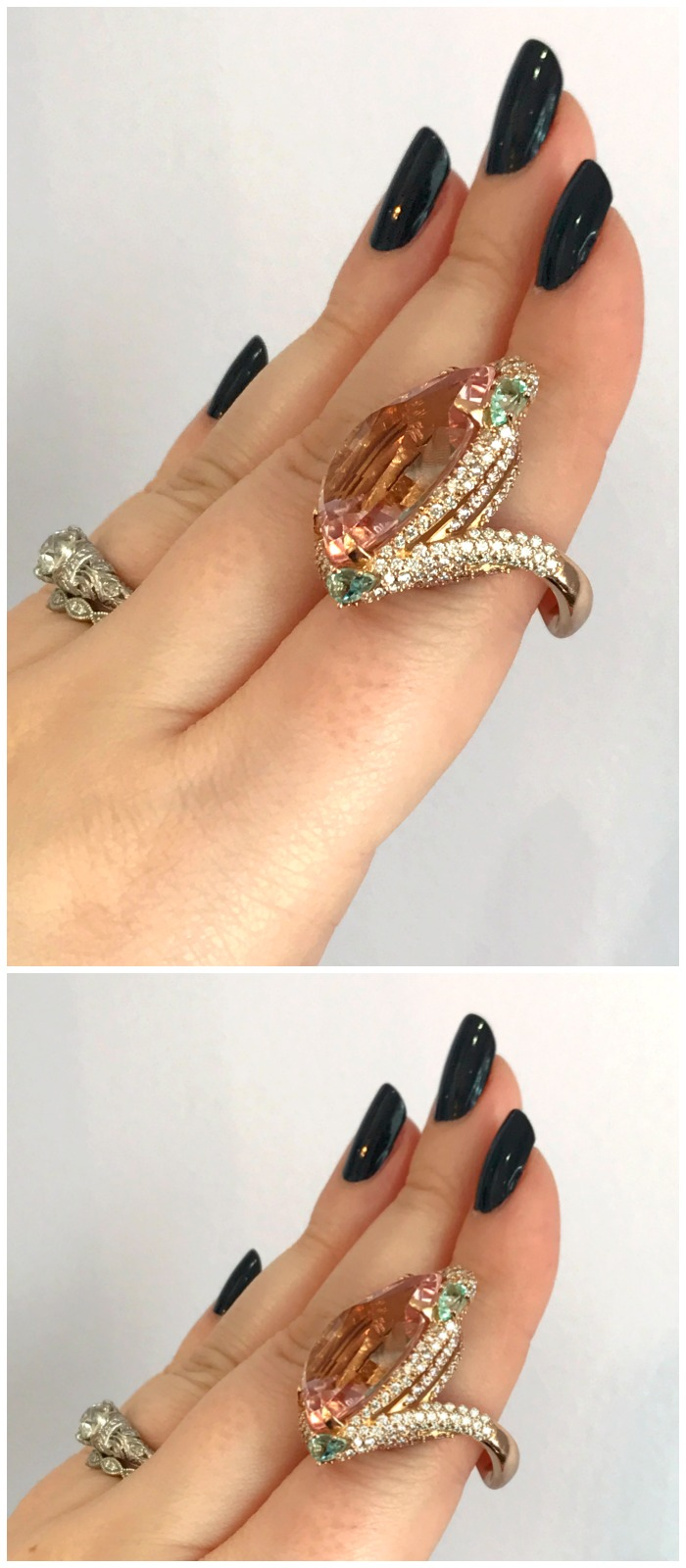 GiGi Ferranti's one of a kind Shangri-la ring with a 15.38 ct. peachy-pink morganite center stone.
