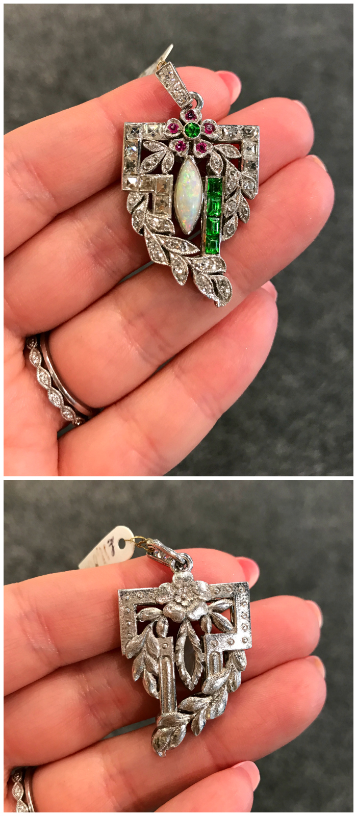 A beautiful Edwardian era diamond, opal, and demantoid garnet pendant from Moira Jewelry.