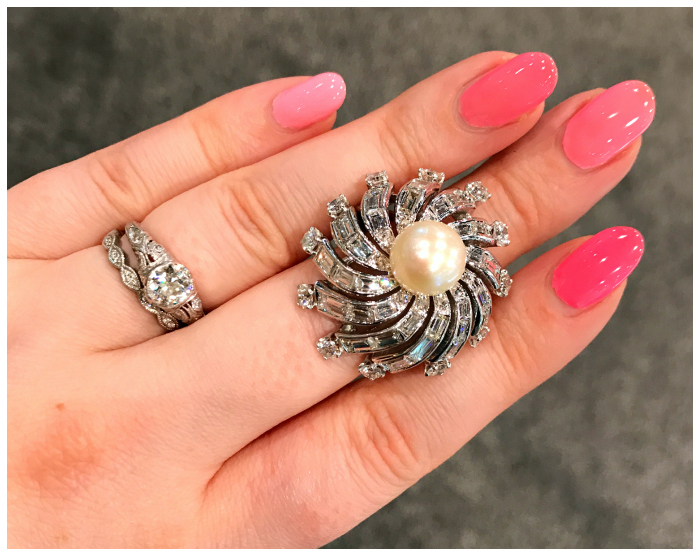 A fantastic vintage diamond and pearl cocktail ring from Craig Evan Small.