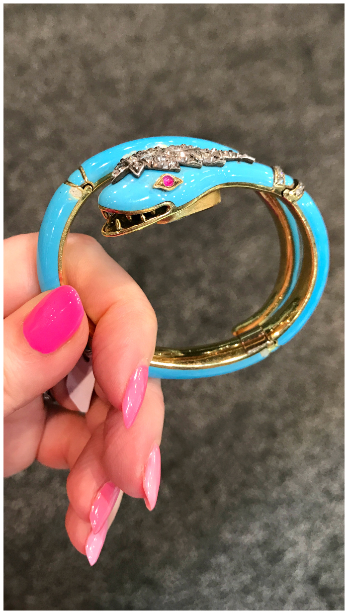 A wonderful antique blue enamel snake bracelet from the Victorian era! I love that color. Spotted at Keyamour.