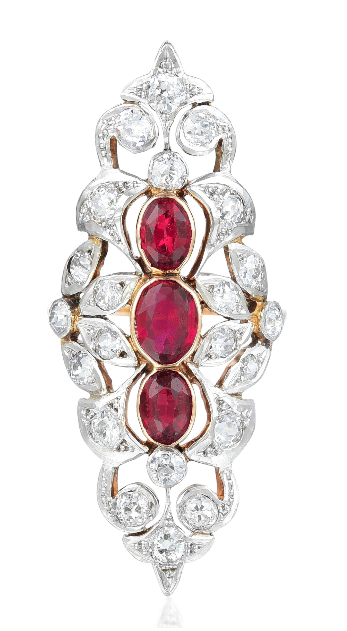 An Antique Diamond and Garnet Ring. Such a large, beautiful piece! From the Fortuna Summer Fine Jewels sale.