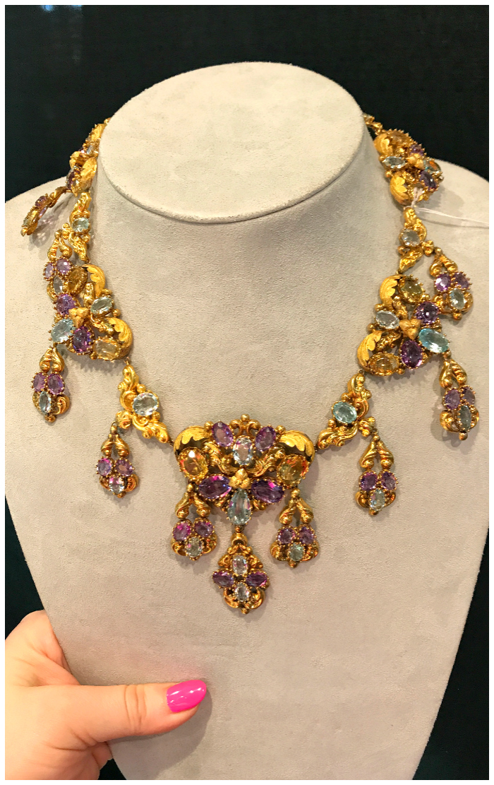 An incredible antique Georgian era necklace with amethyst, aquamarine, and citrine. Spotted at Keyamour.