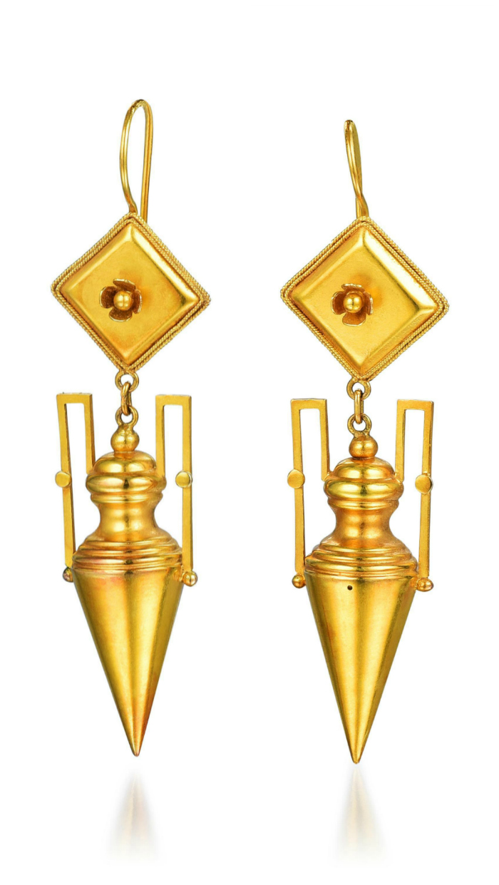 Beautiful gold Etruscan-style earrings from the Fortuna Summer Fine Jewels sale.