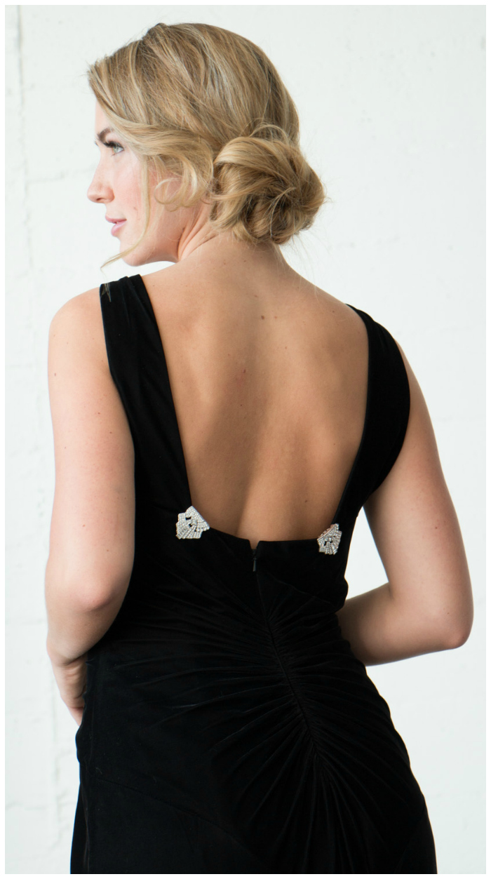 Clip a pair of Jubilee Jones dress clips on the back of your dress before going out for the evening for an unexpected, glam touch of sparkle.
