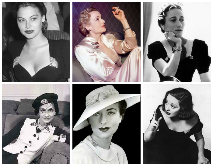 Legendary ladies wearing dress clips! Ava Gardner, Carole Lombard, Wallis Simpson, Coco Chanel, Agnes Moorehead, and Tallulah Bankhead.