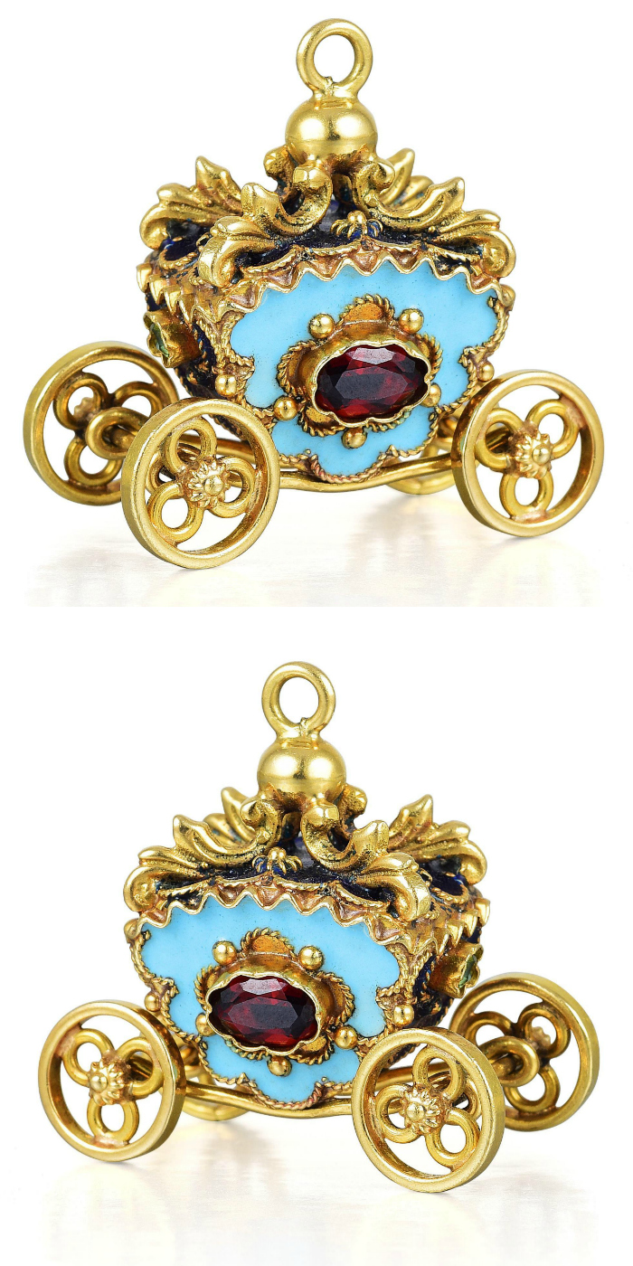 This tiny vintage charm in the shape of a golden carriage features blue enamel and several gemstones. In the Fortuna Summer Jewels Sale.