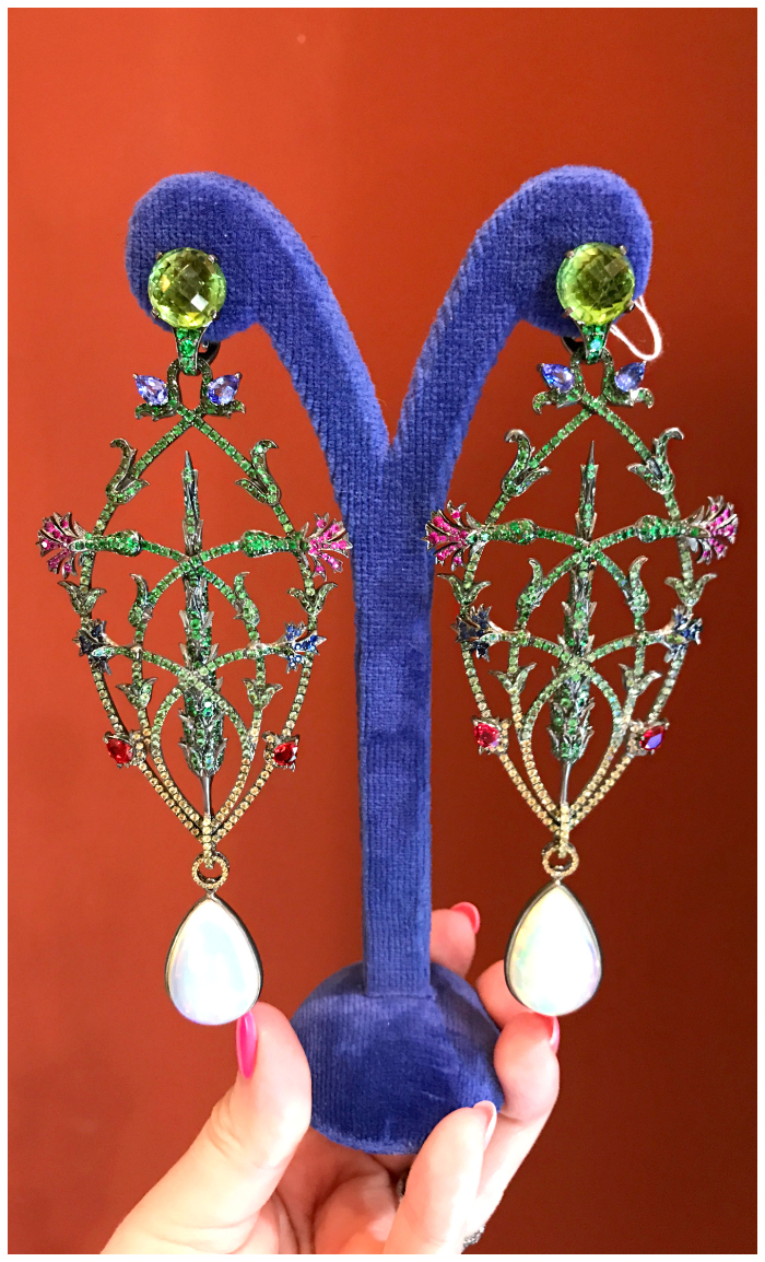 A beautiful pair of earrings by French jewelry designer Lydia Courteille.