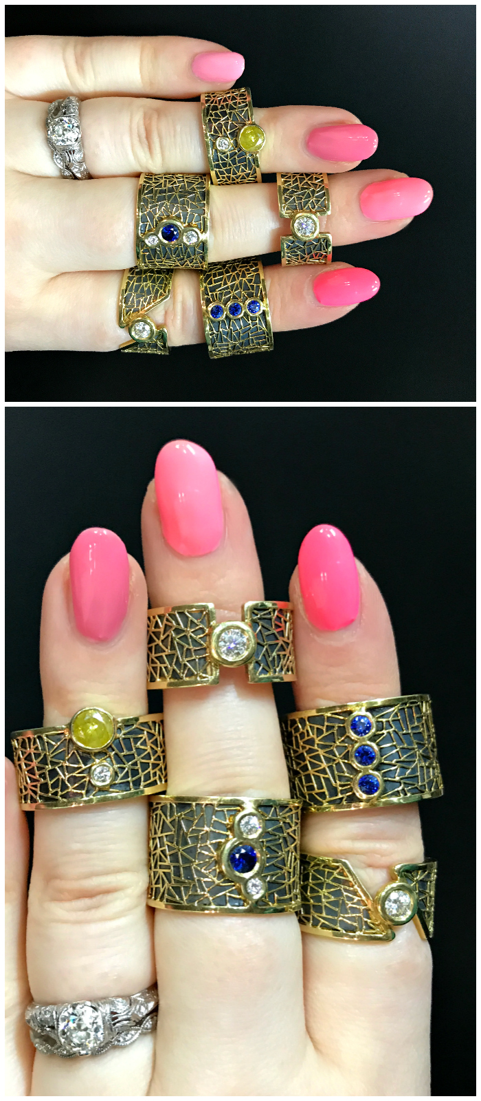 A handful of remarkable hand-crafted diamond and gemstone rings by Baiyang Qiu.