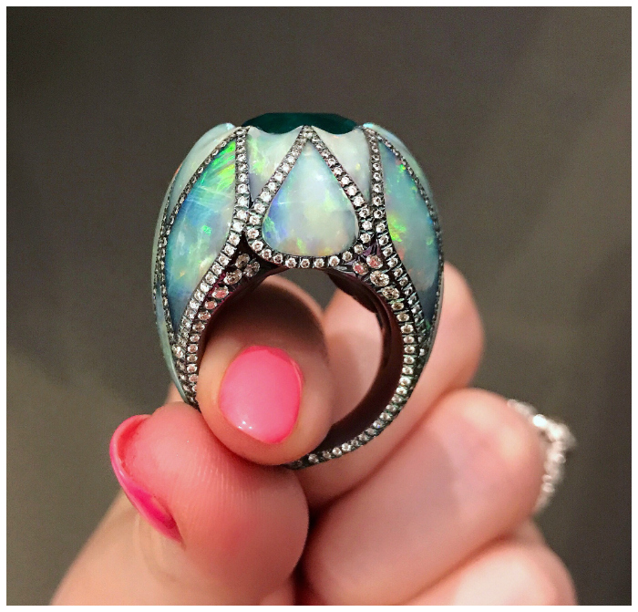 A mind blowing opal, diamond, and emerald ring by Arunashi.