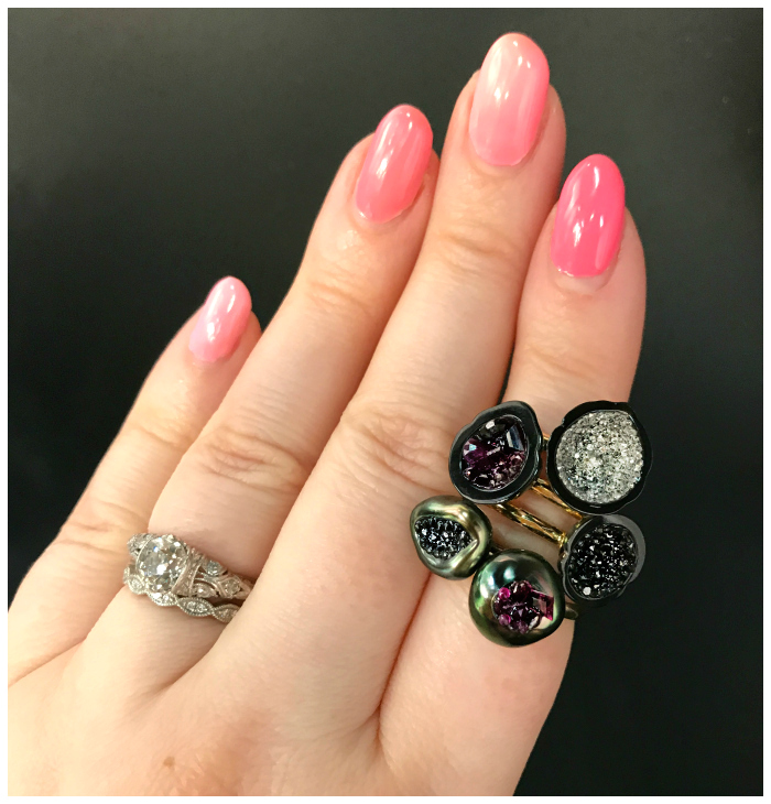A stack of beautiful pearl geode rings by little h. These are made by carving real pearls and setting them with gems! Spectacular.