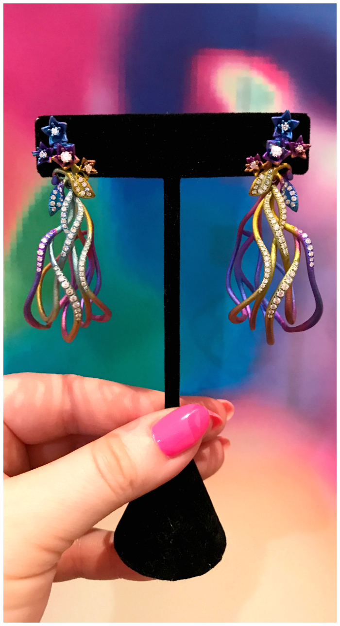 Fantastic and unusual earrings by Neha Dani! Rainbow titanium with diamonds.