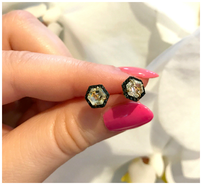 I can't get over how much I love these hexagonal diamond stud earrings by Doryn Wallach! With black diamond pave accents.