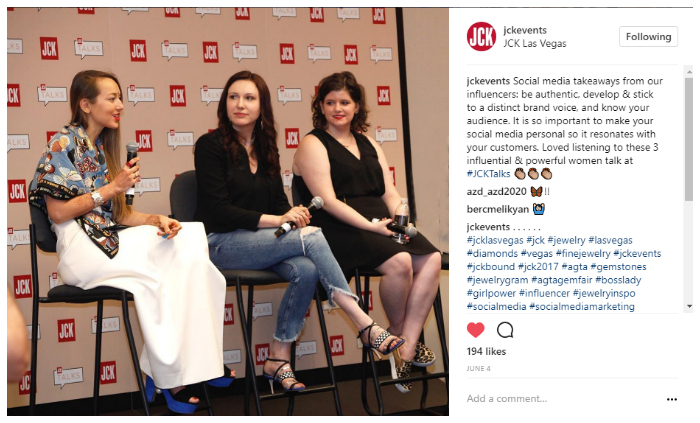 The Jewelry Industry Influencers' panel at JCK Las Vegas, with Liza Urla, Katerina Perez, and Becky Stone.