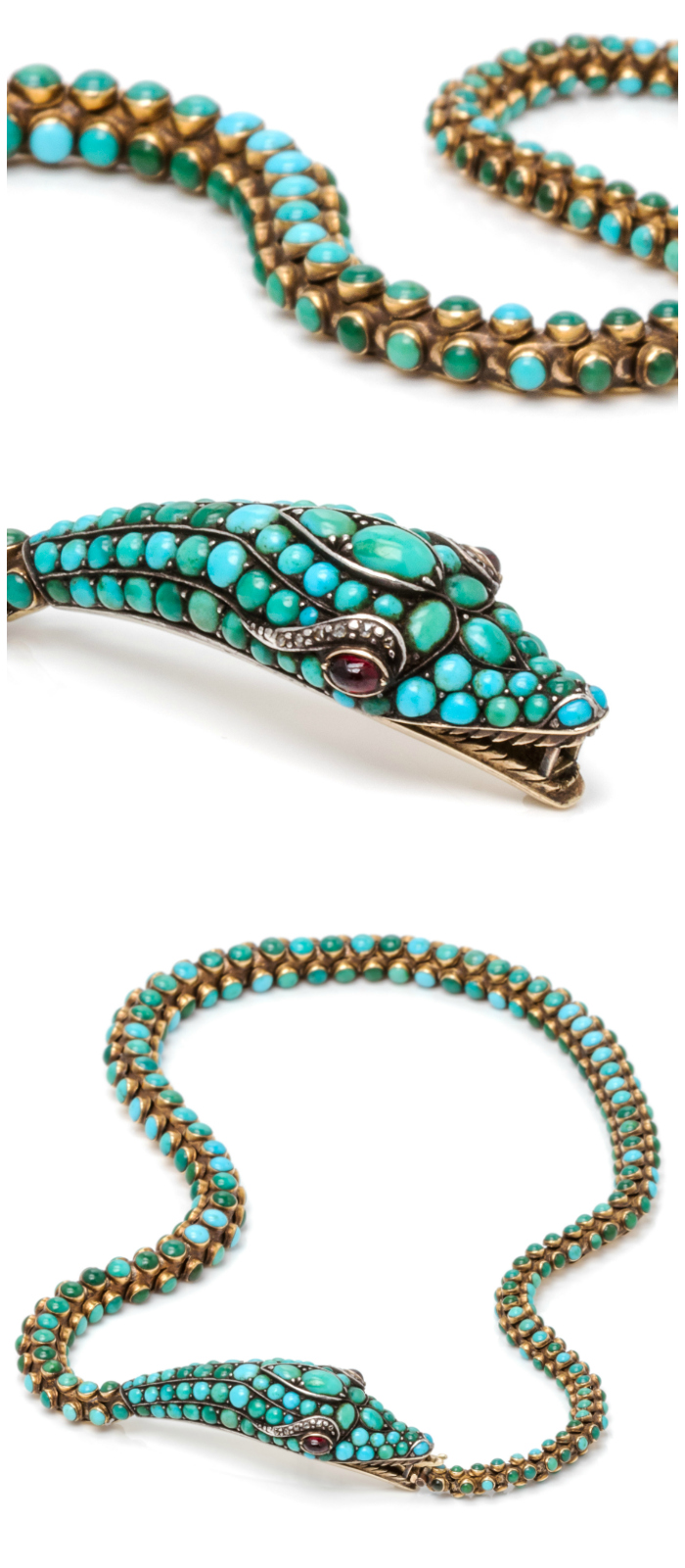 A Victorian silver topped gold, turquoise, garnet and diamond serpent necklace, circa 1840.