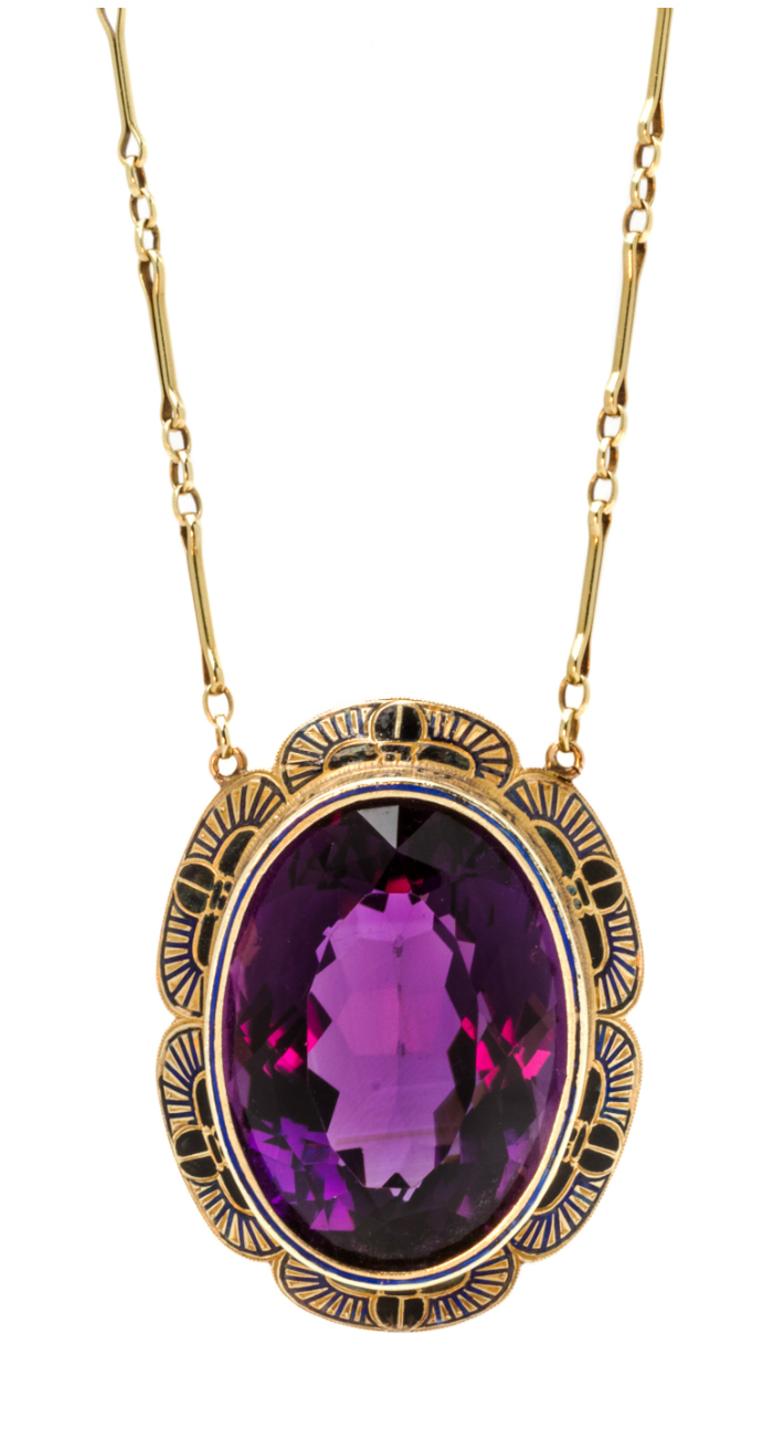 A beautiful Egyptian Revival yellow gold, amethyst and enamel necklace.