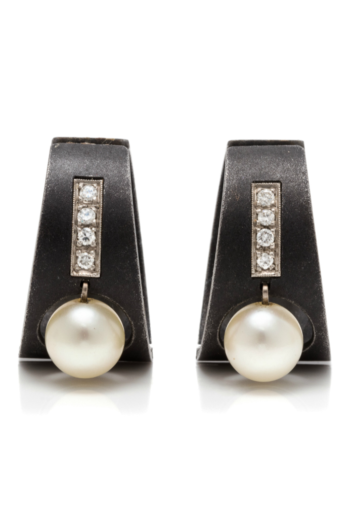 A fabulous and unusual Art Moderne blackened steel, white gold, cultured pearl and diamond earrings by Marsh & Co.