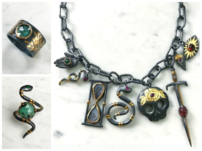 A magnificent charm necklace and two rings by Acanthus.