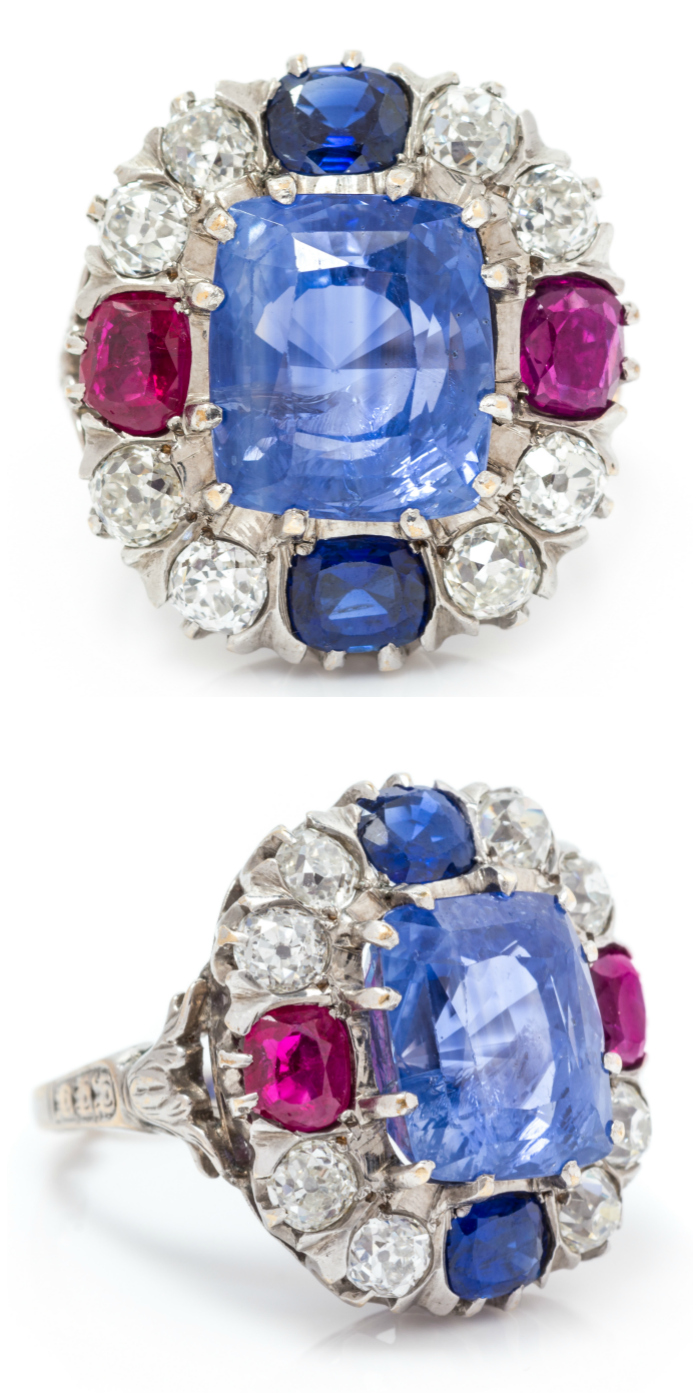 A white gold, sapphire, ruby and diamond ring.