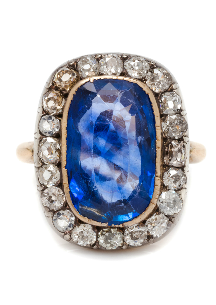 And antique sapphire and diamond ring - that's a huge sapphire, just above 7 and a half carats!