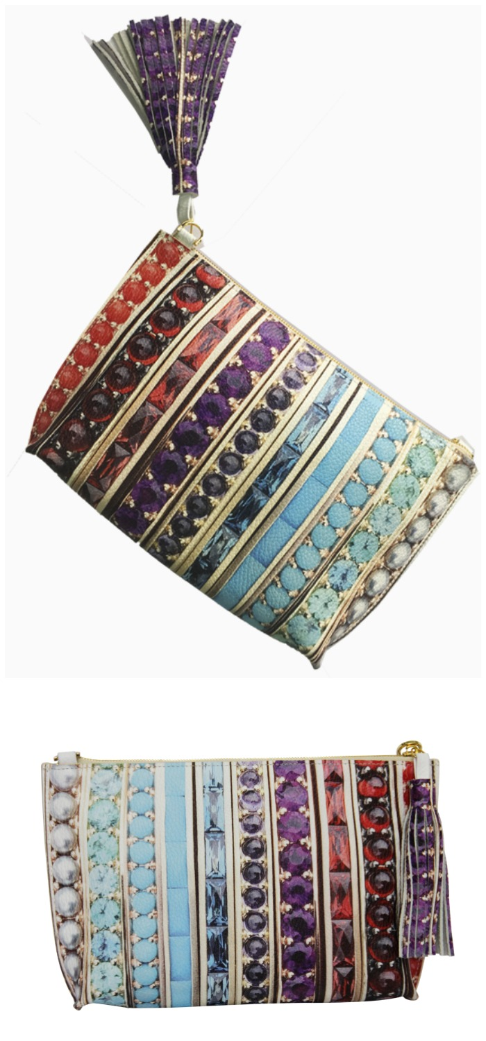 This beautiful Paige Gamble clutch bag is inspired by actual jewelry made by Jane Taylor Jewelry! So fab.