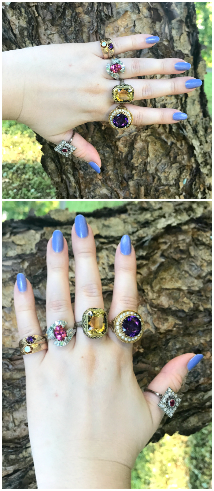 A hand full of stunning vintage rings from Three Graces.