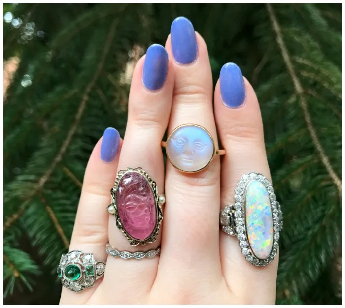 Dreamy antique rings from Three Graces! Emerald, pink tourmaline, moonstone, and opal.