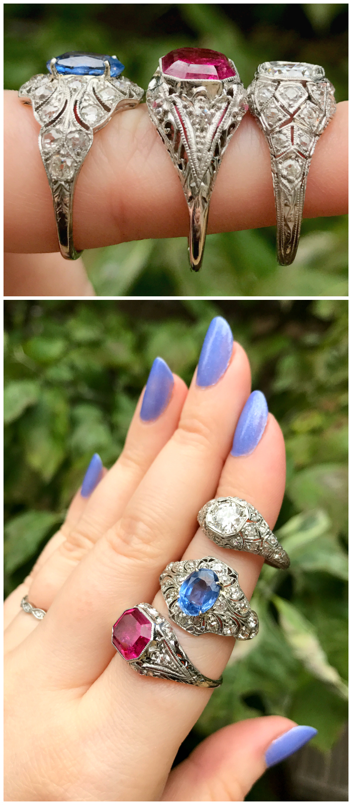 Three stunning rings from the Three Graces! Sapphire, tourmaline, or diamond. Any one of these would be an incredible engagement ring.