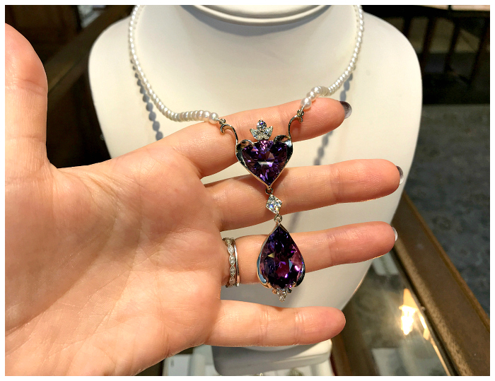 A beautiful one of a kind necklace by Hunt Country Jewelers. So romantic! With diamonds, pearls, and two beautiful amethysts.