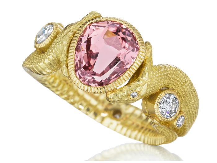 Anthony Lent Bespoke Twin Serpent ring with a pink Mahenge garnet and diamonds in 18k yellow gold.