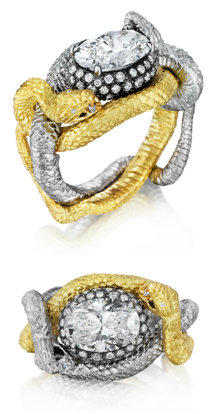 Anthony Lent's Bespoke Fighting Vipers Ring in Platinum and 18k yellow gold with diamonds.