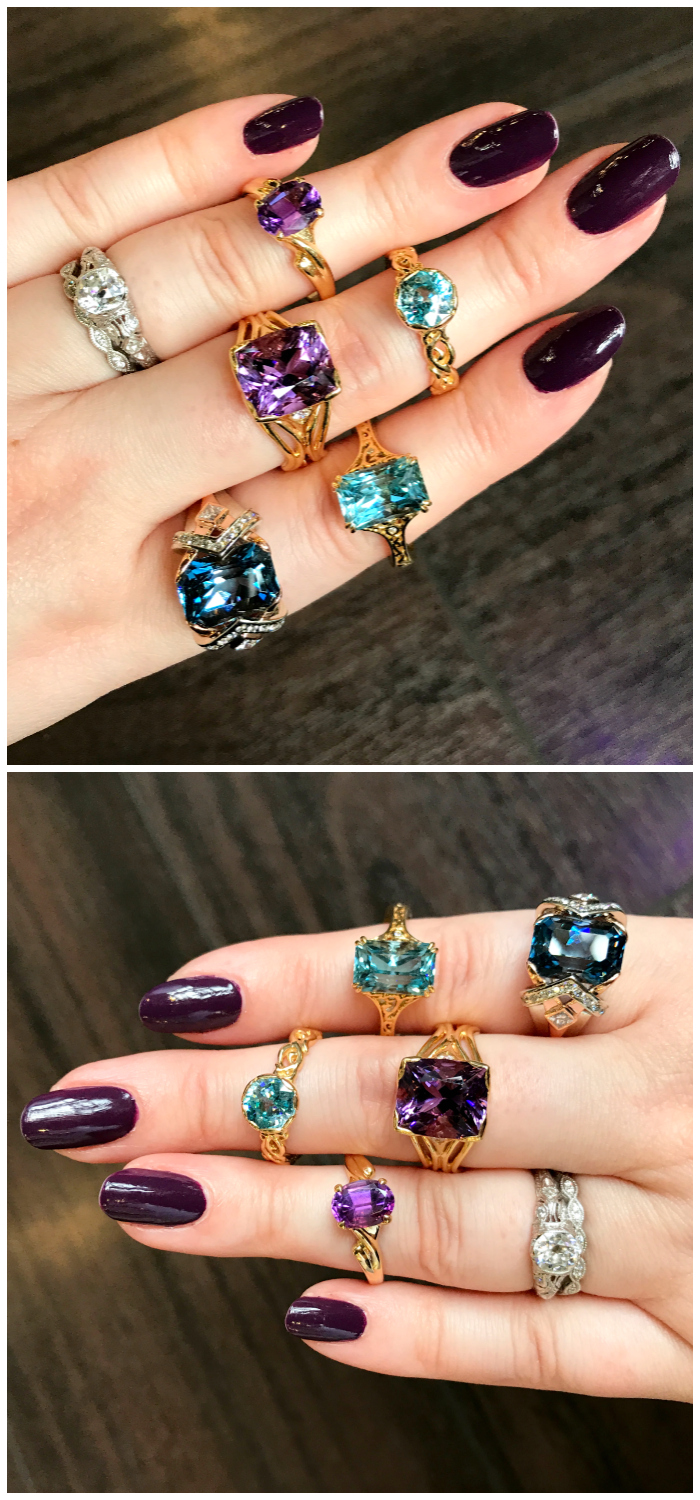 Beautiful handmade gemstone rings by Hunt Country Jewelers! All set in yellow gold.