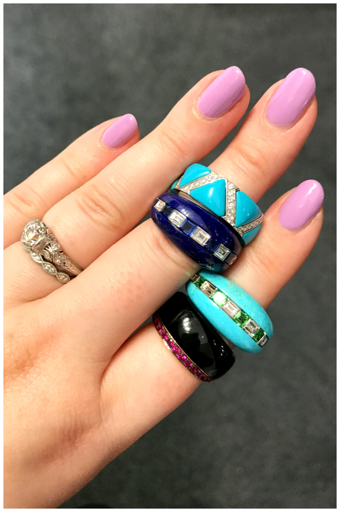I love these rings from Baenteli!! Hardstones like lapis, turquoise, and onyx set with precious stones.