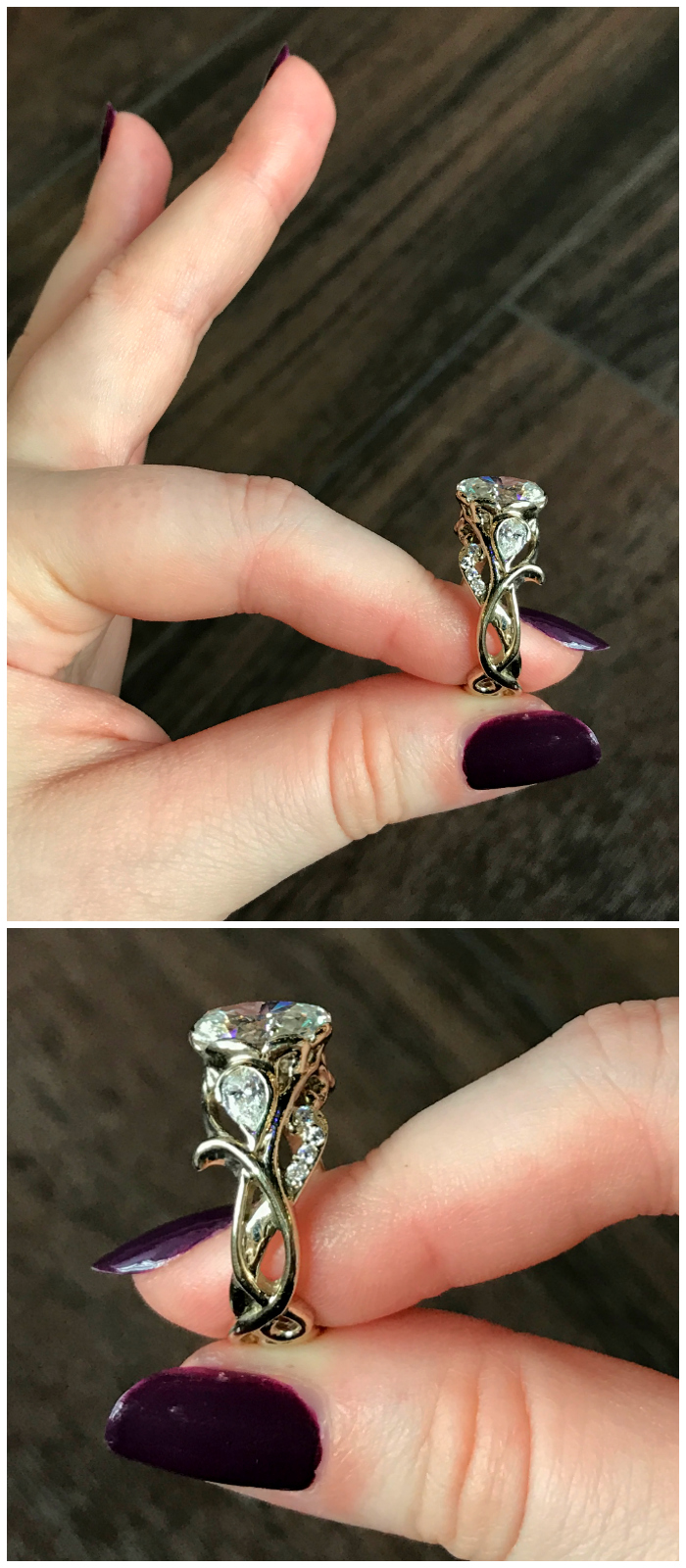 The detail on the side of this handmade, one of a kind diamond ring by Hunt Country Jewelers is so beautiful!