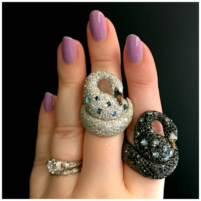 Two beautiful swan rings by Palmerio! Discovered at VicenzaOro.