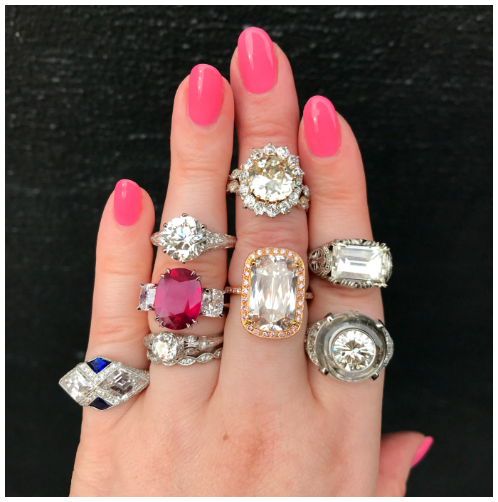 A few of my favorites from Joden's collection of engagement rings over 3 carats! Mostly diamonds, all fantastic.