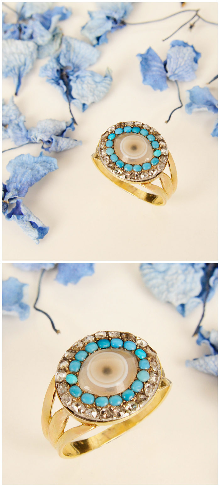 A late Georgian 'Evil Eye' ring with diamond, turquoise, and agate.