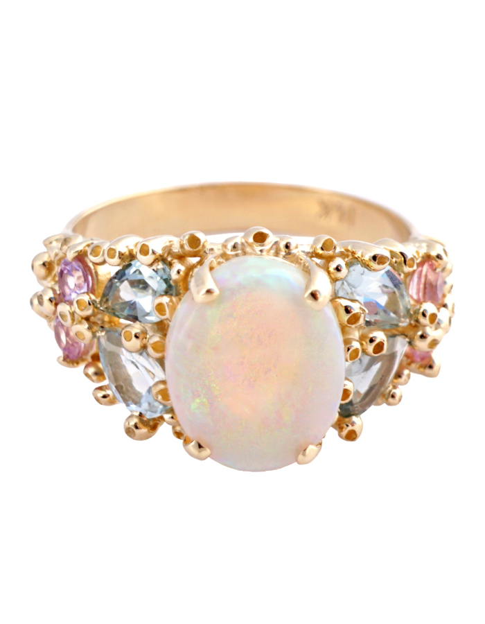 A one of a kind opal and colored gemstone ring by Ruta Reifen.