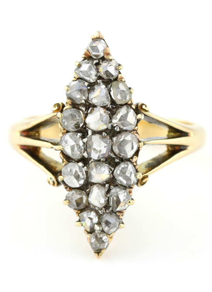 A stunning antique diamond ring from Lillicoco. A ring of this shape is called a navette ring.