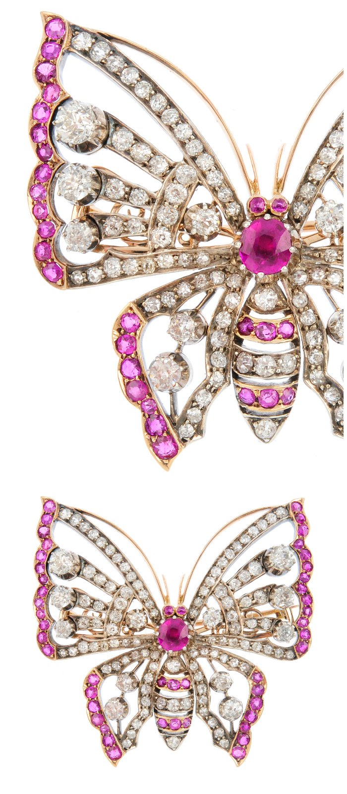 An early 20th century diamond and ruby butterfly brooch.