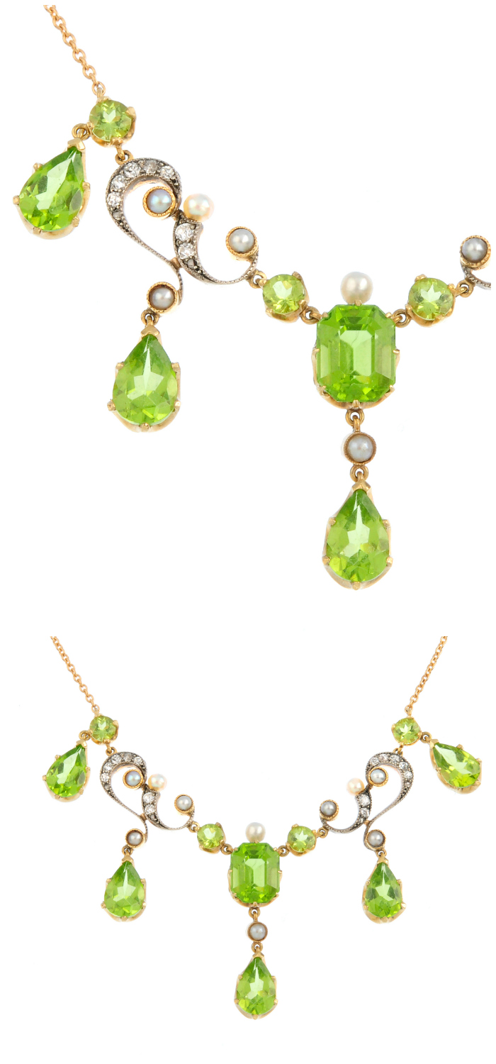 An early 20th century peridot, diamond and seed pearl necklace. Such a beauty!