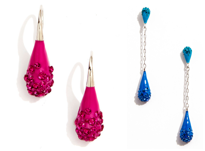 Beautiful pink and blue earrings from Sarah Magid's Candy Drop collection! Enamel with Swarovski crystal.