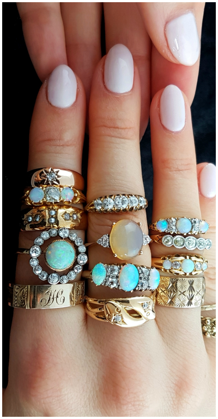 Beautiful vintage and antique rings from Lillicoco! Opals and diamonds and gold, oh my.