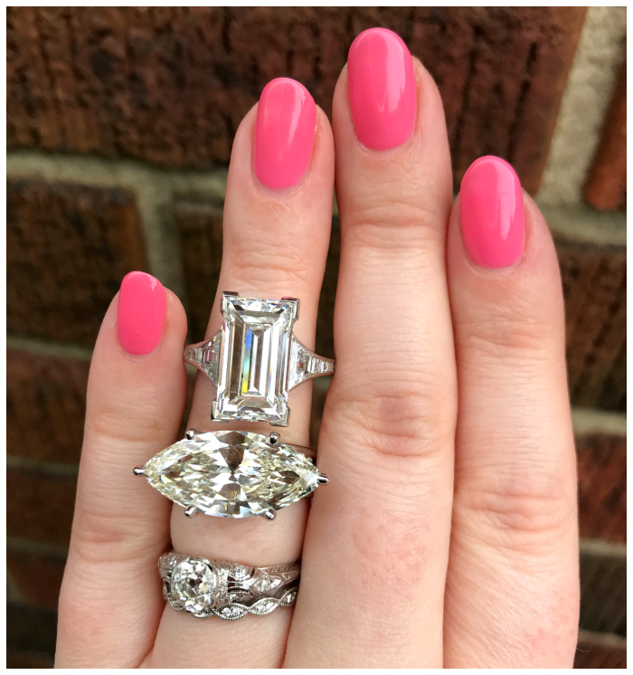Joden has a HUGE selection of engagement rings, but I think these two were my favorites of the showstoppers. A 6.58 carat emerald cut diamond ring and a 5.95 carat East-West set marquise cut diamond ring.