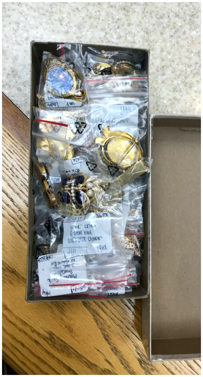 One of Joden's infamous boxes full of jewelry!! The main cases of the store hold only a small percentrage of this incredible jewelry store's actual collection.